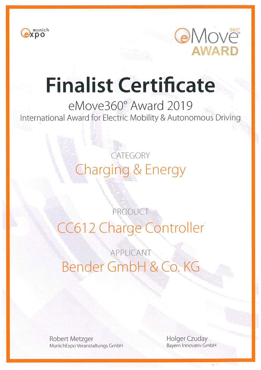 Urkunde Finalist eMove Award